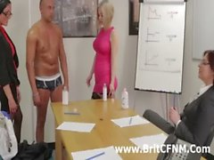 CFNM guy stripped by bad British girls in the office