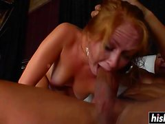 Redhead girl makes a dick disappear