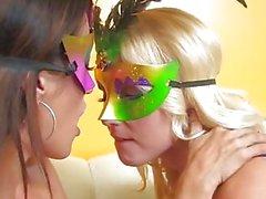 Masquerade lesbian fun with Vanessa Cage & Capri Cavanni