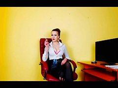 Sexy secretary smoking and dancing