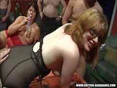 Sweet gang - British amateur girls gangbang swingers party
