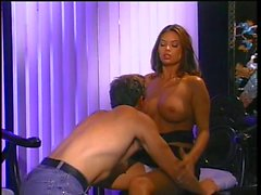 Sexy brunette office slut has her pussy licked and fucked deep