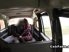 Slim amateur in pantyhose fucks in cab