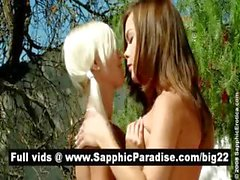 Superb brunette and blonde lesbians kissing and licking nipples and having lesbian love