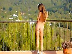 Killer butthole teasing on the balcony