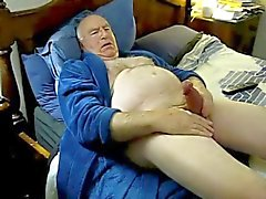 Horny daddy cum on bed
