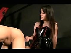 Femdom strapon fucking babe licks up fetish guys cum