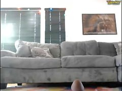 Solo girl Sarah testing new sex toys on couch