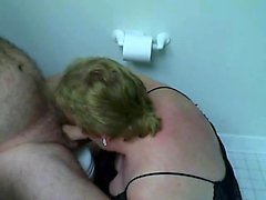Fat girlfriend stroking his throbbing dick