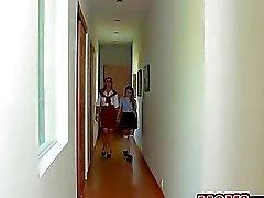 Mature woman spanks an innocent teen