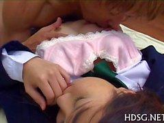 Slutty asian teen pleasures with dildo