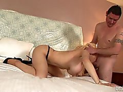 Big meloned blonde Candy Manson has oral sex in the bedroom
