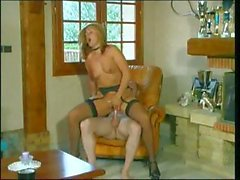Blonde with a nice ass eats his cock, rides on it and sucks again