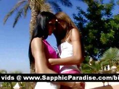 Angelic brunette abd redhead lesbians kissing and having lesbians sex