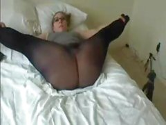 Nerdy blonde amateur chatting on the web shows off her big fat ass in pantyhose