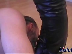 Kinky stud cums hard on latex boots