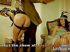 Lady and maid get punished and fucked by two gentleman