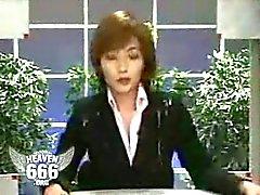 Men shooting on japanese newscaster