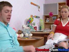 Pigtails teen face jizzed