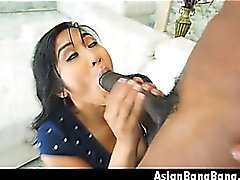 Asian Hotness On Knees Mia Li Blowjob For Big Black Boner