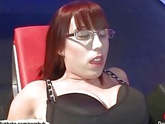Nerdy girl loves cum on her glasses