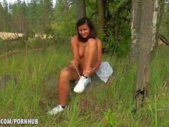Russian Brunette strips down in the woods
