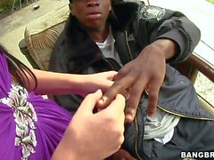 Rebeca Linares shows her hot body to black dude