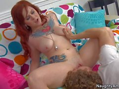Inked up Redhead Misti Dawn with Big naturals