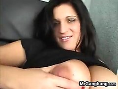 Busty Brunette Babe Fucked A Foursome