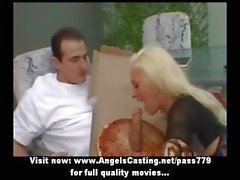 Hot blonde doing blowjob and handjob and undressing for pizza guy