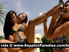 Superb brunette lesbos kissing and licking nipples in a three way lesbian orgy