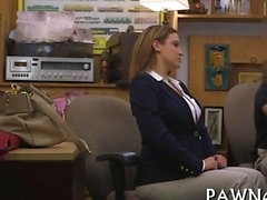 Business milf negotiates with a pervy pawn keeper