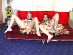 Hardcore threesome party with horny cum eating cunts