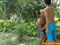 Asian twink outdoors getting blown in hot high def
