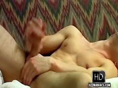 He is alone so this hot hairless stud is jerking off