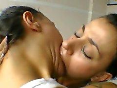 Brazilian not twin sister lesbians kiss