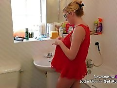 Jodie Ellen Downblouse Sexy Video Lookbook 1 louro quente borracho filmado em 4K UHD