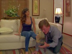 Long legged domina Holly Michaels in blue jeans fucks man's