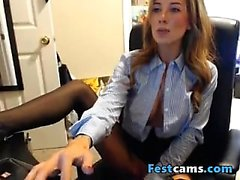 Secretary Huge tits playing with dildo