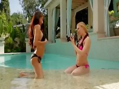 two super sexy girlsongirls in the pool