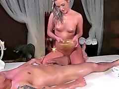 Flexible massage model doing the splits