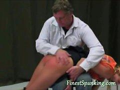 Naughty schoolgirl gets spanked hard