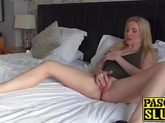 Supreme blonde MILF solo masturbating with a big toy