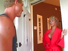 Watch horny housewife Holly Halston help herself with the mail delivery man