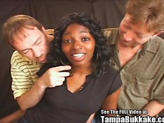 Ebony princess Denea interracial bukkake