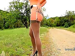 outdoor stripping with model in nylons