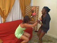 Black mistress dominates white female slave with feet Part 1
