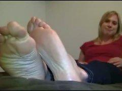 Blonde woman has massive feet