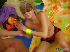 Dirty blonde slut gets pissed in her part3