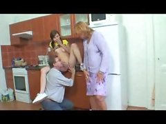 Mother and daughter take on mother's friend and give him a thrill